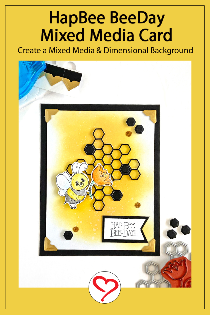 HapBee BeeDay Mixed Media Card by Margie Higuchi for Scrapbook Adhesives by 3L Pinterest