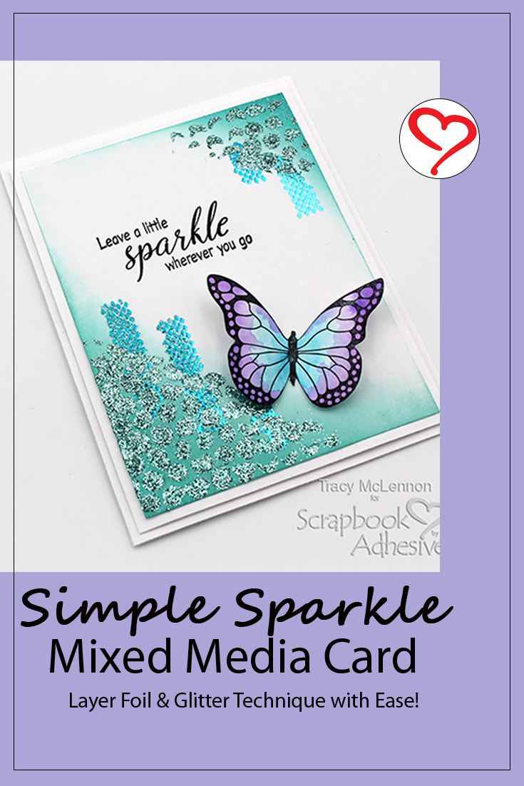 Simple Sparkle Mixed Media Card by Tracy McLennon for Scrapbook Adhesives by 3L Pinterest