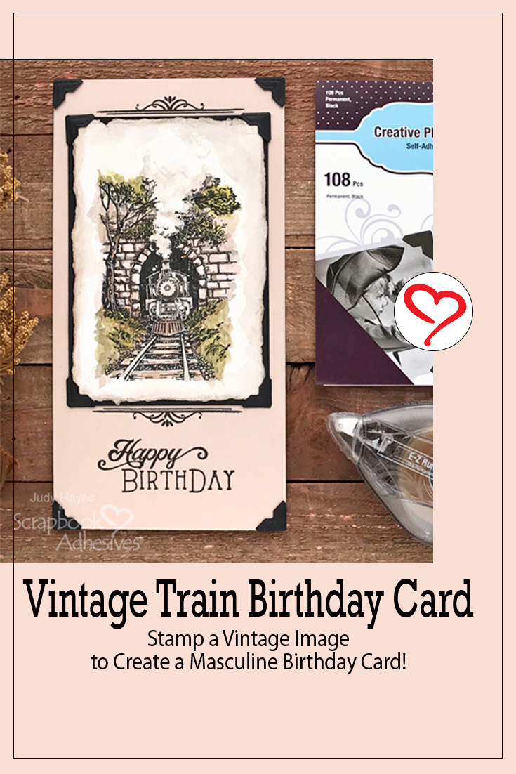 Vintage Train Birthday Card by Judy Hayes for Scrapbook Adhesives by 3L Pinterest