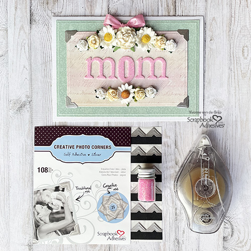 Glittered Mother's Day Card by Yvonne van de Grijp for Scrapbook Adhesives by 3L