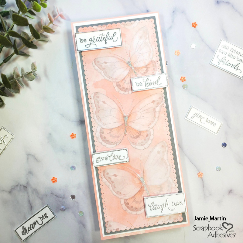 Fluttering Butterfly Slimline Card by Jamie Martin for Scrapbook Adhesives by 3L