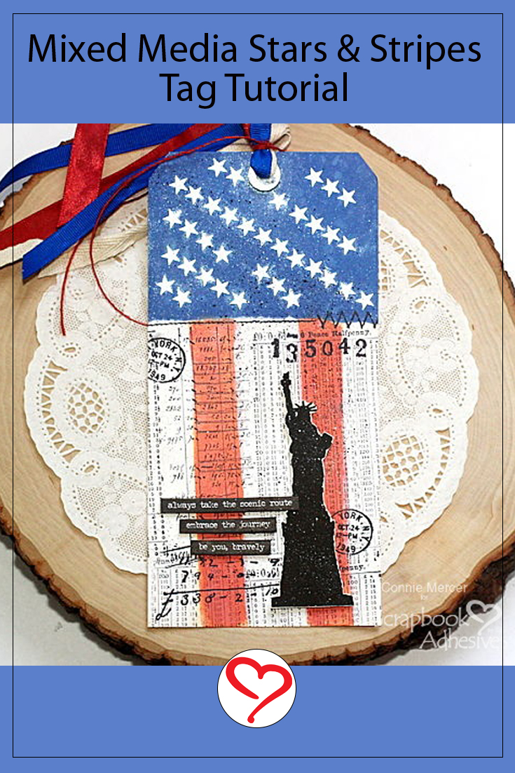 Mixed Media Stars & Stripes Tag by Connie Mercer for Scrapbook Adhesives by 3L Pinterest