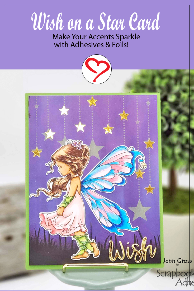 Wish on a Star Card by Jenn Gross for Scrapbook Adhesives by 3L Long Pin