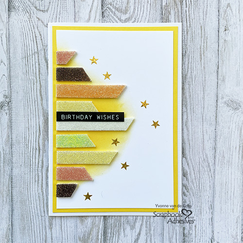 Glittered Birthday Wishes Card by Yvonne van de Grijp for Scrapbook Adhesives by 3L