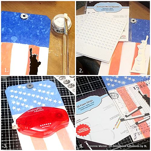 Mixed Media Stars & Stripes Tag by Connie Mercer for Scrapbook Adhesives by 3L