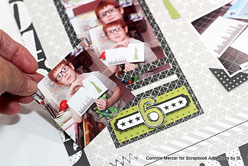 30 Minutes of Art Scrapbook Layout by Connie Mercer for Scrapbook Adhesives by 3L