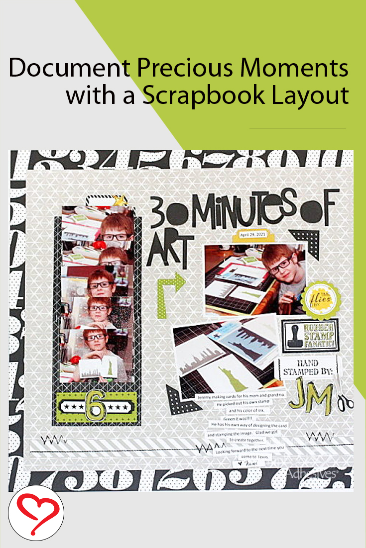 30 Minutes of Art Scrapbook Layout by Connie Mercer for Scrapbook Adhesives by 3L Pinterest