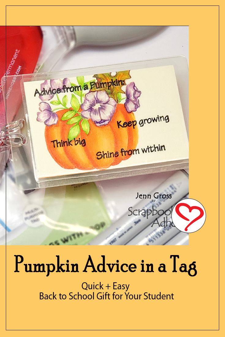 Great Pumpkin Advice in a Tag by Jenn Gross for Scrapbook Adhesives by 3L Pinterest