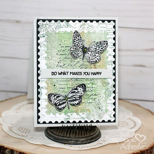 Makes You Happy Mixed Media Card by Connie Mercer for Scrapbook Adhesives  by 3L