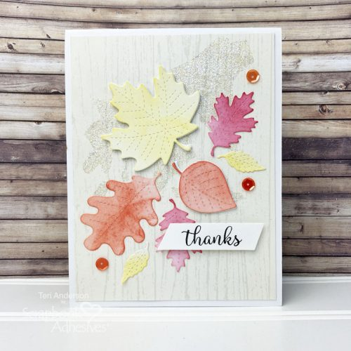 Fall Leaves Thanks Card by Teri Anderson for Scrapbook Adhesives by 3L