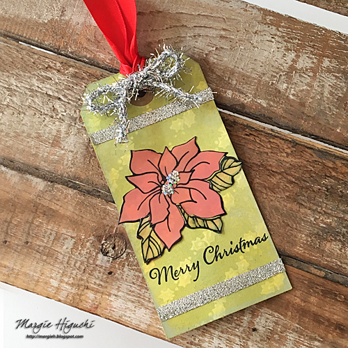 Stampendous Blog Hop and Giveaway - Day 5 Christmas Poinsettia Tag by Margie Higuchi