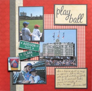 Play Ball baseball scrapbook page by Beth Pingry